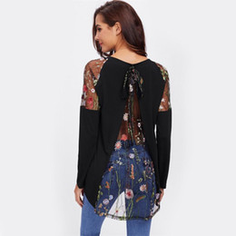 aabc90639a5 Tshirts Lace Shoulder Bow Overlap Back Tee Long Sleeve T shirt Women Black  New Fashion Autumn Womens Sexy T-shirt