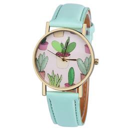 $enCountryForm.capitalKeyWord NZ - Watch Female Clock PU Leather Band Cactus Potted Plants Pattern Analog Quartz Wrist Watches Relogio Feminino