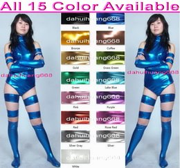 shiny white suit NZ - Sexy Women Short Body Suit Costumes With Long Gloves and Stocking Boots New 15 Color Shiny Metallic Short Bodysuit Catsuit Costumes DH058