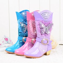 Wholesale Girls Princess High Heeled Snow Boots with Butterfly Plush Knee High Glitter Sequins Rhinestone Party shoes pink Lace