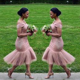 $enCountryForm.capitalKeyWord NZ - Dusty Pink Mermaid Bridesmaid Dresses 2018 Off The Shoulder Tea Length Short Maid Of Honor Gowns Cheap African Bridesmaid Dress
