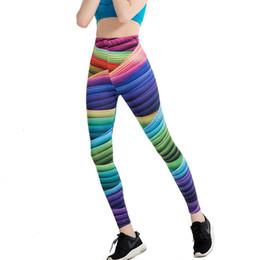 $enCountryForm.capitalKeyWord NZ - Gradient Rainbow Print Women Workout Leggings High Waist Stripe Push Up Hips Fitness Leggings Sporting Pants Leggins