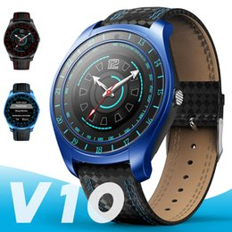 Bluetooth Smart Watch Sim Australia - V10 Smart Watch Men with Camera Bluetooth Smartwatch Pedometer Heart Rate Monitor Sim Card Wristwatch for Android Phone