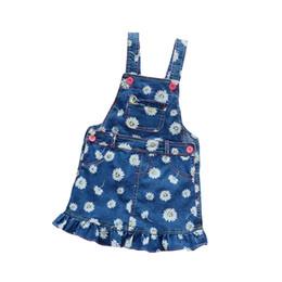 404c307522 Girl Denim Overalls Dress UK - BibiCola 2017 New Summer Baby Girls Clothing  Denim Flowers Dresses
