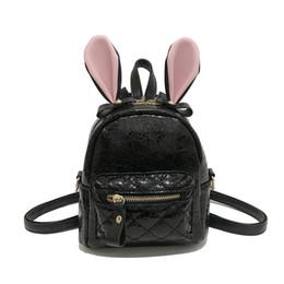 52d0110eb54b Korean Version Simple Fashion Women s Backpack 2018 New Rabbit Ear Burst  Crack Bag Black Pink Gold Silver Trend Pack