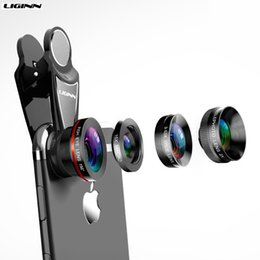 Wholesale 4 in Cell Phone Camera Lens Kit Wide Angle Telephoto lens Macro Fisheye Lenses for Galaxy Xiaomi