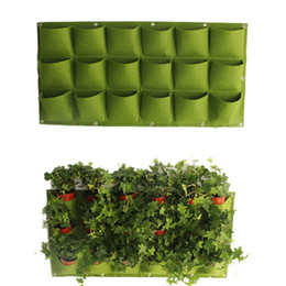 fiber walls NZ - Flower Plant Pots Bag 18 Pockets Planter On Wall Hanging Vertical Felt Gardening Plant Decor Green Field Grow Container Bags Outdoor
