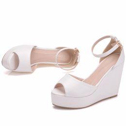 4965bcf4b New Bohemia style peep toe shoes for women hemp rope wedge heels fashion  platform beading wedding shoes wedge heels Plus Size Bridal sandals