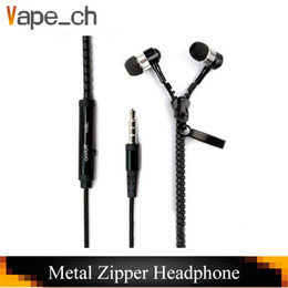 iphone earphones metal Australia - Metal Zipper Headphone In Ear 3.5mm round head In-Ear Zip Earphone Control Talk Metal Earphones for cell phone iphone Samsung