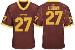 sleeveless shirts mens xl 2019 - Mens Central Michigan Chippewas Antonio Brown College Football Jerseys Cheap Mroon 27 Antonio Brown Stitched Football Sh