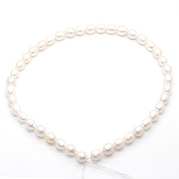 Fresh Water Pearl Charms NZ - 2018 fashion charm jewelry natural fresh water 8-10mm oval pearl 42pcs loose pearl string