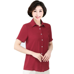 clothes middle ages UK - Women's Blouse Large Size 6xl 7XL Middle-aged Female Short-sleeved Shirt Tops Mother Summer Loose Chiffon Blouse Clothes
