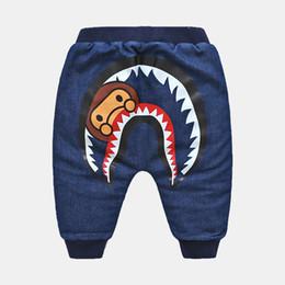 346090407ebed7 Fashion Baby boys cartoon jeans toddler kids monkey shark pattern harlan  pants boys thicken casual denim pants baby boy clothing F2115