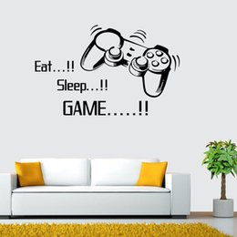 game tiles Canada - ZooYoo Removable Black DIY Eat Sleep Game Quote Game Handle Wall Stickers Vinyl Art Decals for Boys Room Home Decor Poster
