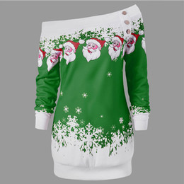 Chinese  Wholesale-AZULINA Causal T-Shirts Santa Claus Snowflake Skew Neck Pullover Christmas T Shirt Jumper Outerwear Autumn Women Button Tops manufacturers