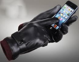 venda por atacado Desgaste Das Mulheres Dos Homens PU Luvas De Couro Inverno Cinco Dedos Luvas Dedo Protegido Quente Mantendo Luvas De Couro Falso