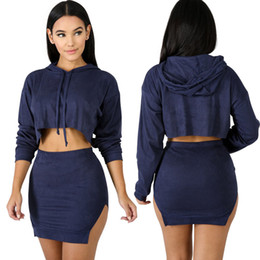 Hooded top skirt online shopping - sexy fall new crop top crop top pencil skirt set hooded sweatshirt two pieces slit skirt suit