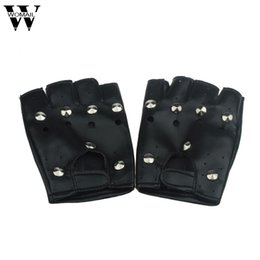 Leather Gloves For Men Australia - Theatrical Punk Hip-hop PU Leather Half-finger Gloves for Women Girl Round Nail Black Amazing Jl 20