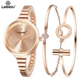 ladies watch bracelet set Canada - LIANDU Fashion Watch Women RoseGold Diamond Bracelet Watch Luxury Jewelry Ladies Female Girl Hour Casual Quartz Wristwatches set Y18102310