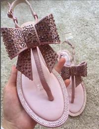 a12c7e48cc7729 Brand Women s Sandals 2017 Summer Beaded Stone Diamond Eyeliner Bow Sandals  Roman Flat Sandwich Toe Sandals Flat Wedding Shoes