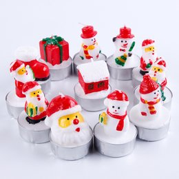 Wholesale Christmas Santa Candles House Snowm Snowman Shaped Scented Candle Wedding Party Hotel Market Wax Micro Landscape Decor hc hh
