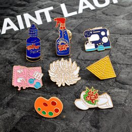 Discount alloy jacket - Enamel pins Toilet flower Sewing machine Palette pyramid paint Hand tools Brooch Button Pin Denim Jacket Pin Badge Gift