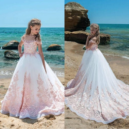 Discount teen girls dresses - Beaitufl Pink Ivory Girls Pageant Dresses 2019 Sheer Neck Cap Sleeves Appliques Lace Tulle Birthday Party Flower Girls D