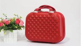 $enCountryForm.capitalKeyWord NZ - High Quality Fashion Light Suitcase 14 Inch Cosmetic Cases Diamond Lattice Multifunction ABS Make Up box women travel organizer