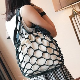 hand bags sets NZ - New fashionable wome net hollows canvas bag Milled solid color two pc set hand bag girls smart double bags