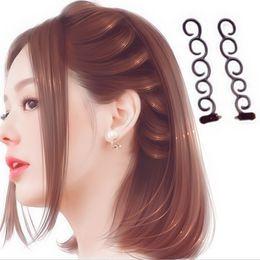 $enCountryForm.capitalKeyWord Australia - Flower Magic Hair Clip Stylist Queue Twist Plait Diy Hairstyle Styling Accessories Random Color French Elegance Hair Braider 10pcs Christmas