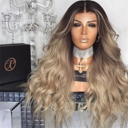 Discount light hair - #1bT#18 Full Lace Blonde Human Hair Wigs Curly Brazilian Ombre Full Lace Wig With Natural Hairline Baby Hair For Fashion