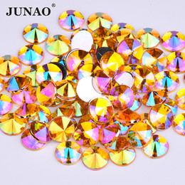 Sew Rhinestones For Clothes Australia - JUNAO 10mm Sewing Yellow AB Acrylic Rhinestones Sew On Round Strass Flat Back Crystal Beads for DIY Needlework Clothes