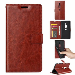 Xperia Flip Case White Australia - Flip Pu Leather Phone Case For Sony Xperia XZ2 Premium Wallet Crazy Horse Grain Protector Bags
