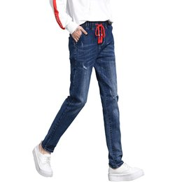 $enCountryForm.capitalKeyWord Australia - Women Trousers 2018 Women Summer Cotton Harlan Jeans Elastic Waist Trousers Thin Denim Pants Womens Elastic Pencil Jeans