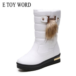 Discount slip female shoes - E TOY WORD Leather Waterproof Winter Snow Boots Female Round Toe Solid Warm Women Boots Non-Slip Platform Shoes Women XW