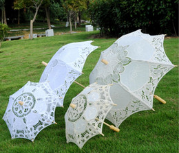 Long handLe parasoLs online shopping - Stock Ivory Lace Bridal Wedding Parasol White Lace Umbrella Victorian Lady Costume Accessory Bridal Party Decoration Parasols Cheap