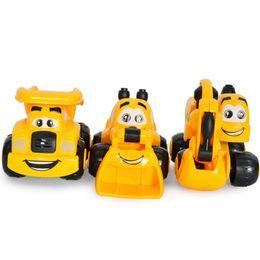 plastic trucks 2018 - Kawaii 3Pcs Lot Mini Cartoon Engineering Vehicles Excavator Sand Truck Forklift Model Children Birthday Gifts Toys Whole