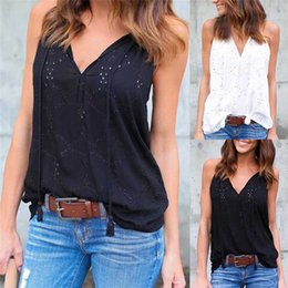 cd1bf6ecee White Black Stylish Women clothes Embroidery V-neck pullover Tank Top Lace  Geometry Sleeveless casual Vest