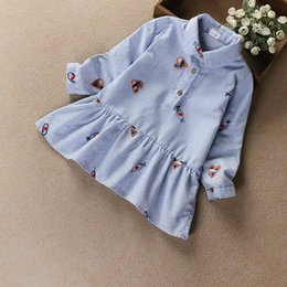 Barato Algodão Azul Lindo-Everweekend Girls Heart Bordado Striped Ruffles Dress Lovely Kids Blue Color Clothing Cute Baby Spring Autumn Cotton Clothing