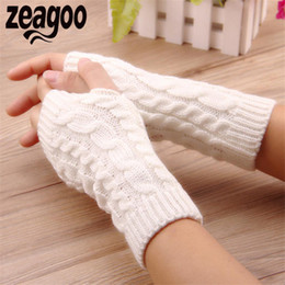 $enCountryForm.capitalKeyWord Australia - 1pair Solid Short Half Finger Fingerless Wool Knit Wrist Glove Winter Warm Gloves Mittens for Women and Men 5 Colors