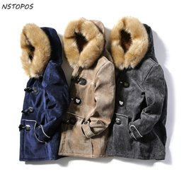 Wholesale horn buckle for sale - Group buy Suede Parka Mens Fur Parka With Hoodie Horn Buckle Couples Lover Winter Jacket Men And Women Homme Navy Grey Khaki