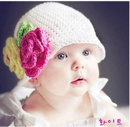 Kids Character Hats Wholesale Australia - 2018 Time-limited Direct Selling Beanie 100% Cotton Wool Knitting Kids Hat Big Flower Handmade 10pcs lot Children Baby Accessories Ba140