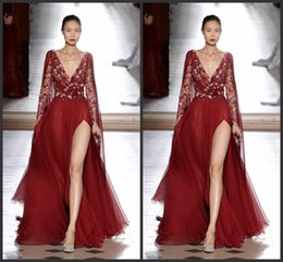 China Tony Ward 2019 New Side Split Dresses Evening Wear Long Sleeve Red Embroidery Vintage Prom Gowns Sexy Deep V Neck Party Dress cheap tony ward evening dresses suppliers