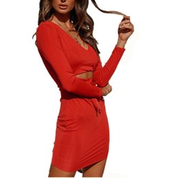 Red Dress V Neck Straps Australia - good quality Women's Dress 2018 Sexy Strap Solid Color V-Neck Long Sleeve Dress Women's Autumn And Winter Red Mini Hip Dresses