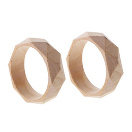 $enCountryForm.capitalKeyWord UK - 2 Pieces 24mm Wide Natural Unfinished Faceted Wooden Bangle Bracelet DIY Wood Crafts