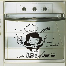Discount kitchen window stickers - 30*25CM personality decoration cartoon kitchen warmly decorated wall decal CA-301