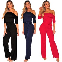 69a6673bc70fa 2018 Fashion Women Skew collar Playsuits Sexy bodysuit jumpsuit Plus size Clothes  body feminino