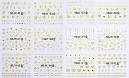 Gold Sticker Tattoos NZ - 12 PCS   LOT SELF-ADHESIVE 3D NAIL TATTOOS STICKER WHITE BLACK GOLD SILVER SWEET HEART STAR NECKLACE GALAXY PLANET HBJY181-192