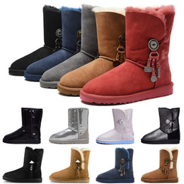 Wholesale button strap resale online – GGG Women Short Glitter Sequin Boots WGG designer Womens Sparkles Australia Classic winter Snow boots Button Bling Boot New Arrival