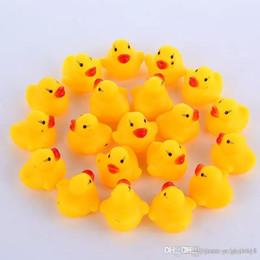 Toys Water Sound Baby NZ - High Quality Baby Bath Water Duck Toy Sounds Mini Yellow Rubber Ducks Bath Small Duck Toy Children Swiming Beach Gifts EMS shipping E1277